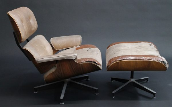eames lounge and ottoman side view photo